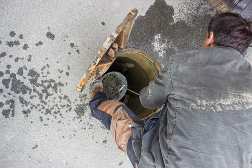 Standing in clogged drain